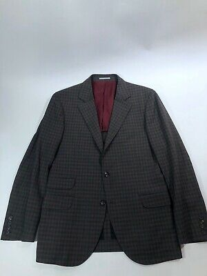 Brunello Cucinelli 3/2 Roll Mohair Silk Brown Plaid Blazer Jacket Mens Sz 40 R
