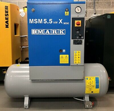 Mark MSM5.5KWX 200 Receiver Mounted Rotary Screw Compressor, 21.2 CFM, 5.5Kw!