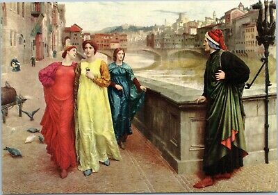art postcard - Dante and Beatrice from Henry Holliday painting