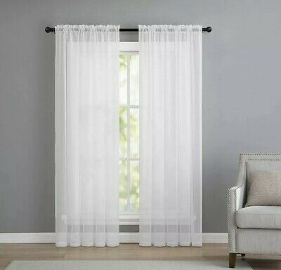 """2 Panels Beautiful Rod Pocket Sheer Voile Window Curtain Panels in White (84""""x54"""