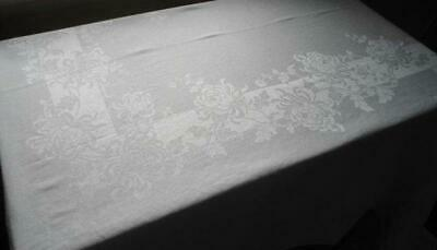 Vintage Irish Linen Double Damask Tablecloth Stripes Chrysanthemums 90""