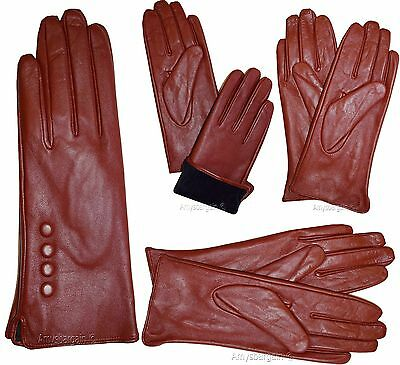 Leather gloves. Woman's Size (L) Red Leather Red winter Gloves. Dress Gloves BN