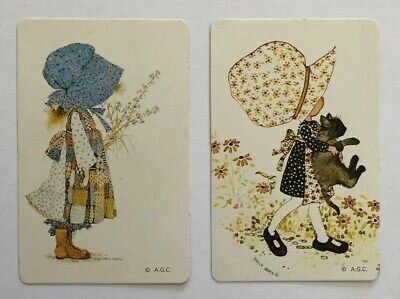 Pair Holly Hobbie Playing Swap Cards, Vintage, Cat, Set Of Two