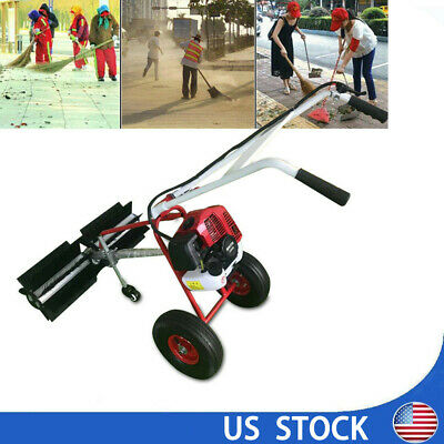 Gas Power Hand Held Walk Behind Sweeper Broom Driveway Walkway Cleaning 2-stroke