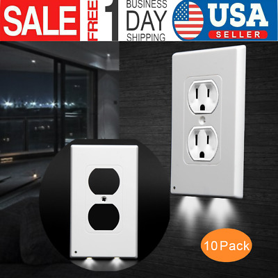 10 Pack LED Night Angel Duplex Plug Cover Sensor Light Wall Outlet Coverplate US