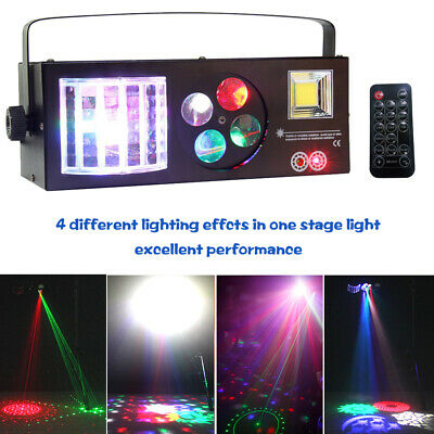Stage Lighting LED Laser Gobo Pattern Strobe 4in1 RGBW Party Disco Light Remote