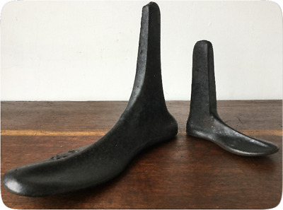 2 Vintage Cast Iron Cobblers Lasts - Shoe Lasts - Size 9 1/2 & Small - Size 5