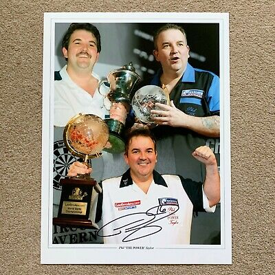 SALE PHIL TAYLOR THE POWER DARTS HAND SIGNED PHOTO AUTHENTIC + COA - 16x12
