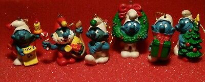 Vintage Lot of 6 Different Schleich 1981 Peyo Smurf Christmas Ornaments