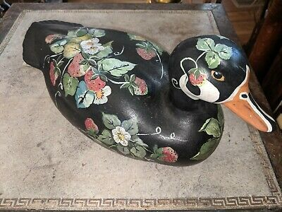 """Gorgeous Vtg Hand Tole Painted Strawberries Ceramic Duck Signed N Weaver 12 1/2"""""""