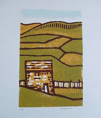 Dales Stone Barn Linocut print, limited edition of 12