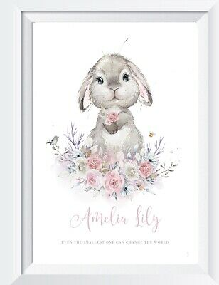 Personalised baby girl bunny print picture nursery walldecor christening gift