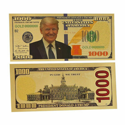 President Donald Trump $1000 Dollar Bill Gold Plated Foil Banknote Non Currency