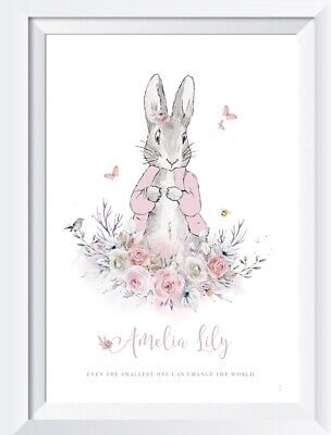 Personalised baby girl Peter Rabbit print picture nursery walldecor christening
