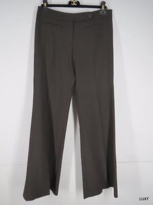 Trina Turk Pants Size 6 S Brown Flat Front Straight Wide Flare Leg Stretch Work