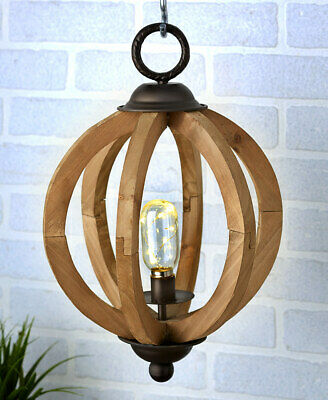 Rustic Wood LED Table Hanging Light Lamp Lantern Industrial Country Farmhouse