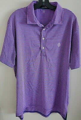 RLX Ralph Lauren Mens Wicking Polo Shirt sz Large Blue Purple Striped. EUC