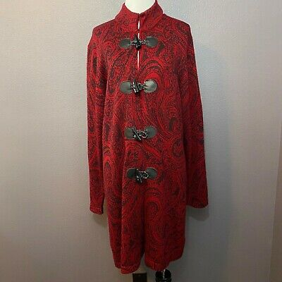 Charter Club Women's Size XL Red Black Paisley Duster Cardigan Wool Blend