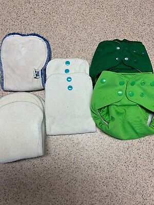 Lot Of 2 LaLaBye Baby Cloth Diapers With 5 Inserts
