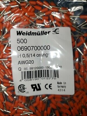 Weidmuller 0690700000 Wire End Ferrules (BAG OF 500xPCS)