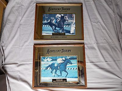 "Lot (2) Kentucky Tavern Framed Advertising  Mirrors ""Kentucky Derby Winners"""