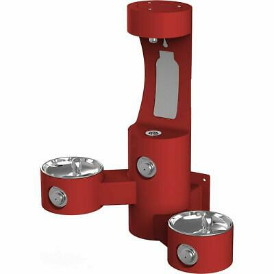 Elkay LK4409BFRED Wall Mounted Outdoor Bi-Level Drinking Fountain and Bottle ...