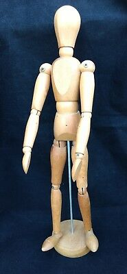 "Wood Artist Figure Model PAULARTE Carved Jointed 12"" Articulated Puppet Vintage"