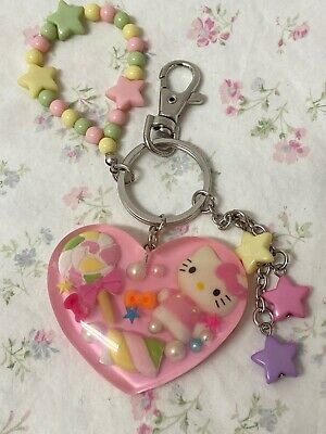 Sanrio Hello Kitty Heart And Stars Candy Pastel Resin Keychain 2013 Collectable