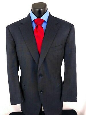 Canali Mens Suit Jacket Sport Coat Navy Blue Nailshead Wool Italy 46 L 46L A16