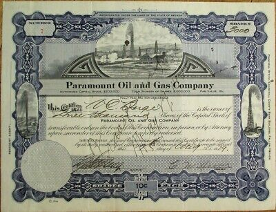 Nevada/NV Oil 1919 Stock Certificate: Paramount Oil & Gas Co. - 3000 Shares #7