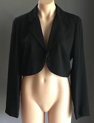 Vintage Dressy Black MR K Long Sleeve Bolero / Crop Jacket Size 12