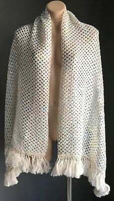 VINTAGE White Iridescent w Pastel Colour Flick Sequins Wrap/Shawl w Fringe Trim