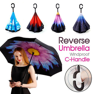 Double Layer Windproof Upside Down Reverse UmbrellaInside-Out Inverted C-Handle