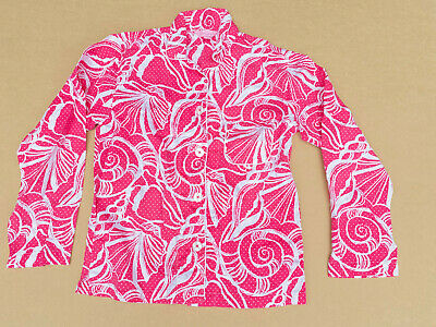 Lilly Pulitzer Pajamas Top Pink White Sea Shell Print Long Sleeve XS