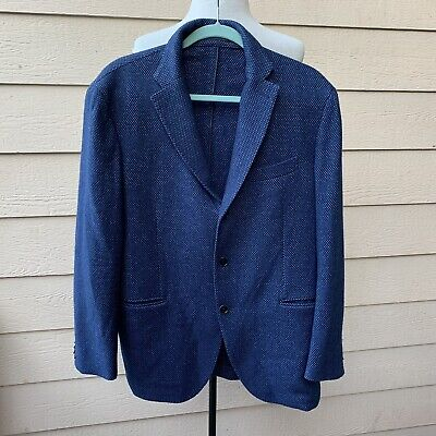 Cantarelli & C. SpA Italian Wool Blend Blazer Blue Jacket Sports Coat Men 52