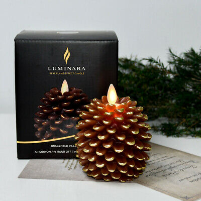 Luminara Pine Cone Battery Operated Led Candle Unscented Flickering with Timer