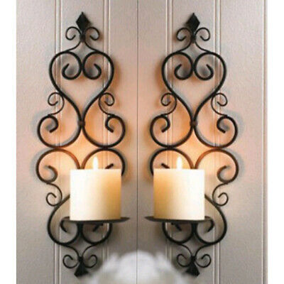 2 Pack Antique Hanging Wall Mount Candlestick Party Candle Holder Pricket Black