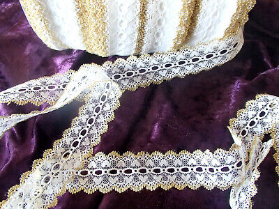 Eyelet/knitting in/coathanger lace 6.2 mtrs x 4cm wide white/gold metalic edging