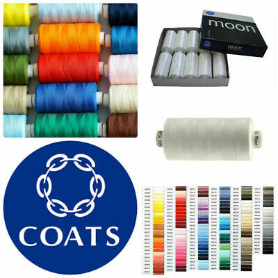Assorted Coats Moon Sewing Machine Polyester Thread Cotton 1000 yards x 10 cops