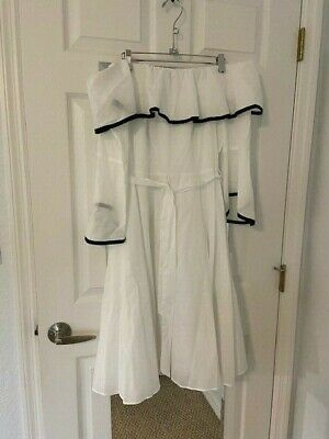 Calvin Klein Womens White Off the Shoulder w/ Contrast Piping Size 8 NWT Dress