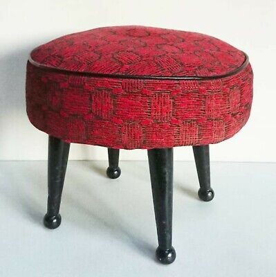 Round red black foot stool Seat Chair step vintage upholstered retro mid century