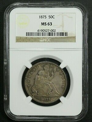 1875 Seated Liberty Silver Half Dollar NGC MS 63
