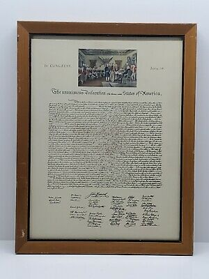 Vtg US Constitution Declaration of Independence Framed Art Wall Office Decor