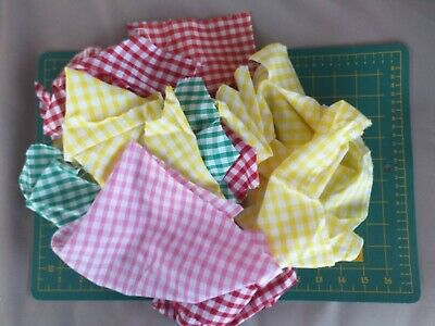 Mixed Colour Gingham Fabric Craft Costume Offcuts Scraps Remnant Bundle