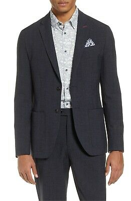 TED BAKER Size 5/42R/XL Groove Slim Fit Check Navy Blazer Jacket Sportcoat NWT