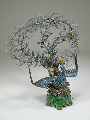 Antique Chinese Export filigree silver & enamel peacock # CS146