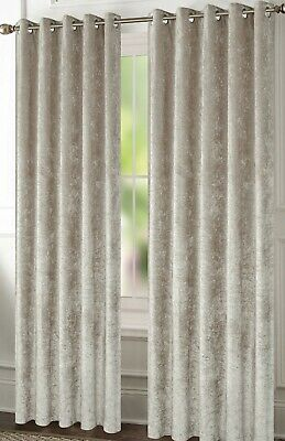 """Fully Lined Readymade /""""Glimmer/"""" Charcoal Velvet Curtains Thermal Winter Eyelet"""