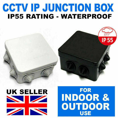 IP Junction Box Case Waterproof Light Grey / Black Outdoor Electric CCTV IP55 UK