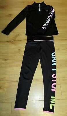 £44 girls tracksuit  11 - 12 half zip top  hoodie leggings black bundle slogan