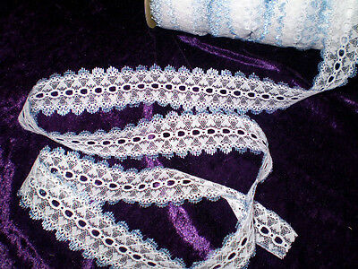 Eyelet lace 5.2 metres white with blue edging heart design